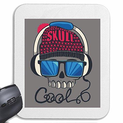 Mousepad (Mauspad) SKULL COOL SONNENBRILLE KOPFHÖRER SKULL BIKERSHIRT GOTHIC BIKE CLUB MC MOTORCYCLE CHOPPER CUSTOM MOTORRAD MOTORRADTREFFEN CLUB TREFFEN für ihren Laptop, Notebook oder Int