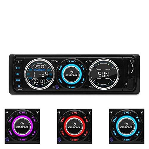 auna MD-180-BT • Autoradio • Car-Radio • Car-HiFi-Set • Bluetooth-Schnittstelle • USB-Slot • SD/MMC-Slot • UKW-Radiotuner • MP3 • 3,5mm-Klinke-AUX-Eingang • 2 x Stereo-Cinch-Line-Ausgang • Freisprechanlage • Fernbedienung • abnehmbares Bedienteil • weiß