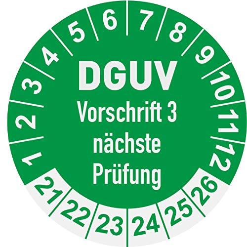 DGUV 3 Prüfplaketten 2021 Ø 30 mm: mehrjährig - 250 Stück - aus hochwertiger Haftfolie - Staffelpreise unter Amazon Business ab 3, 6, 11 VE