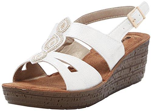 INBLU Glamour Sandali con Cinturino alla Caviglia Donna Bianco 40 EU