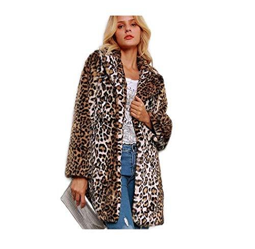Kwolf - Abrigo de Piel sintética Sexy con diseño de Leopardo para Mujer, Manga Larga, para Invierno, cálido, Mullido, para Exteriores Marrón marrón S