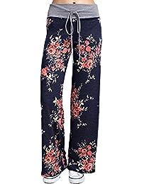 Kinikiss Women's Floral Yoga Palazzo Drawstring Casual Loose Wide Leg Pants Trousers Leggings