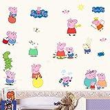 Stickers Mureaux Peppa Pig mural amovible autocollant mural Art Stickers vinyle décoration de la maison bricolage salo chambre bureau Decor papier peint chambre d'enfant cadeau, multicolore