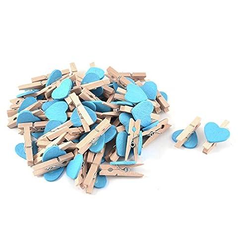 sourcingmap® Card Photo Heart Shape Crafts Spring Pegs Mini Wooden Clip 50pcs Blue