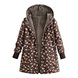 KIMODO Mantel Damen, Jacken Winter Oversize Hoodie Winterjacke Wintermantel Jahrgang Drucken Fleece verdicken Hasp Coats Outwear (Braun, L)