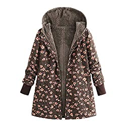 OverDose Damen Winterjacke Windbreaker Wärmemantel Plus Size Damen Kapuzen Causal Slim Soft Langarm Vintage Damen Fleece Dick Coats Zipper Coat(Braun,42 DE/M CN)