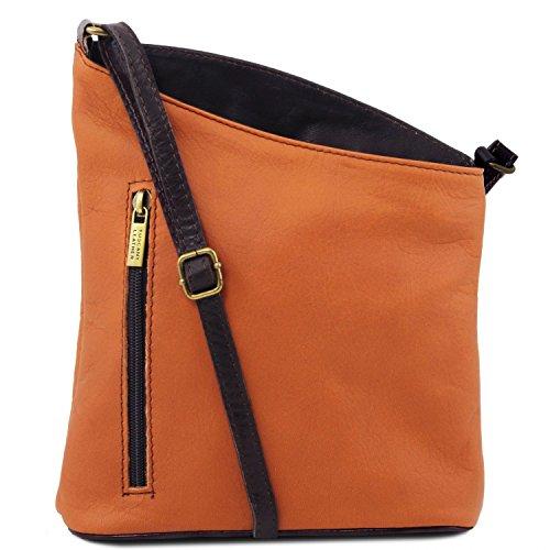 Tuscany Leather TL Bag Mini Unisex-Schultertasche aus weichem Leder Rot Cognac