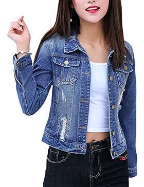 Giacca di Jeans Cappotto di Denim Maniche Lunghe Slim Fit Vintage di Stile Boyfriend