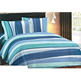 Bombay Dyeing Zebra Crossing 120 TC Cotton King Size Bedsheet with 2 Pillow Covers - Blue