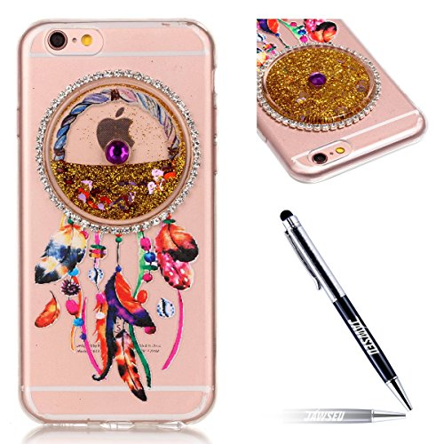 iPhone 7 Custodia, iPhone 7 Cover, iPhone 7 4.7 Custodia Silicone, JAWSEU Moda Stile Lusso Cristallo di Bling Brillante Sparkle Glitter Custodia per iPhone 7 Back Cover Case Ultra Sottile Flessibile G Campanula, Glitter Oro