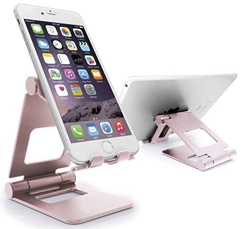 MyGadget Smartphone Ständer [Multi-Winkel Faltbar] Aluminium Stand Tischhalterung für Apple iPhone X XS Max XR X 8 7 / Samsung Galaxy S9 - Rosé Gold