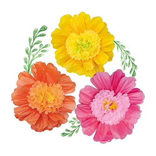 Nicrolandee - set di 6 grandi fiori di carta velina realizzati a mano, fiori di carta giganti per sfondo di nozze messicane, decorazione per arco, compleanno, baby shower, decorazione da parete