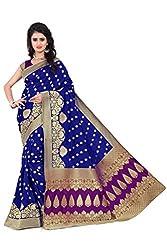 Vatsla Women's Heavy Banarasi Silk Saree With Heavy Banarasi Work & Blouse Piece(VAPEX107BLUEPURPLE)
