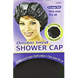 Annie X-Large Size Doubled Lined Shower Cap (Black) 4407 By Annie