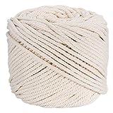 HuBei Corde en coton naturel pour tricotage, suspension murale ou suspension pour plante - Beige Naturel  3mm x 100m(about 109 yd) beige