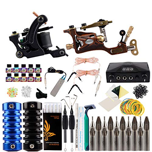 WENHU Tattoo Kit Professionelle Rotary Tattoo Maschine 2 Pistolen Set Schwarz Unsterbliche Tinten Power Box Tattoo Nadeln Griffe Set Permanent Make-up