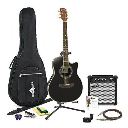 Deluxe Rounded Back Gitarre + Full Pack - Schwarz