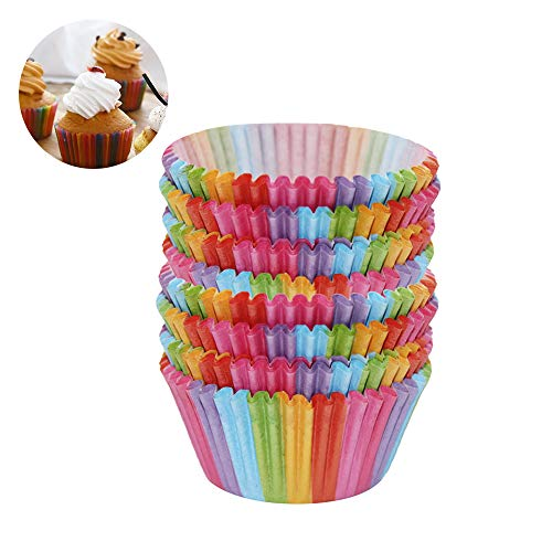 The Best Kingdom NEU 200 Stück Rainbow Cupcake Fällen Kuchen Backen Muffin Dessert Hochzeit Party DE
