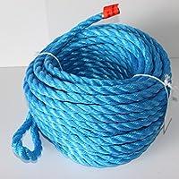 Extremadamente Resistente/rocío, de PP Polipropileno cuerda trenzada, diámetro 16mm, longitud 30m, con correa), color azul, carga de rotura 3400kg