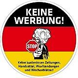 pinkelephant Aufkleber / Briefkastenaufkleber STOP - Keine Werbung - 01 - 80 mm rund - Zusteller-Schreck