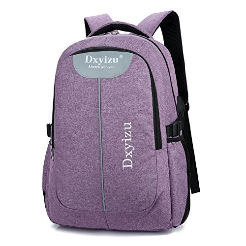 Mioy Damen vintage rucksack 15.6 zoll laptop backpack jugendliche schultasche herren Canvas Freizeit reiserucksack mit USB Ladeanschluss (violett)