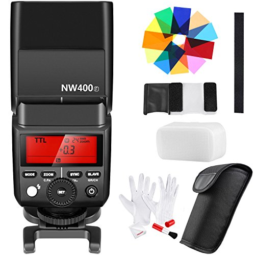 Neewer Flash Master Slave Speedlite 2,4G Wireless TTL HSS con 12 Filtri Colorati & Kit di Pulizia per Fotocamere Digitali Mirrorless Fujifilm X-Pro2, X-T20, X-T10, X-A3 e Così Via (NW400F)