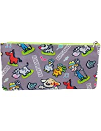 Meher Collection Zipper Pouch With Single Pocket And Zip In Silver Ranch Print With Neon Green Lining