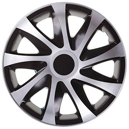NRM Draco CS, Schwarz/Silber.15 Zoll. (4 x Universal Radzierblenden/Radkappen)