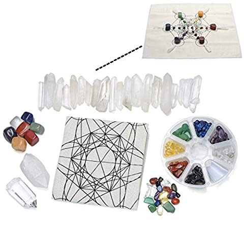 JSDDE 7 Chakra Healing Crystal Grids Kit /Lot of 7 Chakra Tumbles, Assorted Chip Gemstones, Clear Quartz Crystal Wands Points Sticks, Metatron's Cube Sacred Geometry Crystal Grids Altar