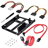 DEEPFOX Dual 2.5 Inch SSD/HDD to 3.5 Inch Internal HDD mounting frame Hard Disk Drive Mounting Kit Bracket [SATA and Power Cables included]