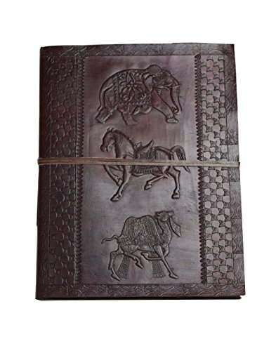 Die Goldene Zeit - XXL (DIN B4 = mehr als A4) Leder HARDCOVER Notiz- Gäste- Skizzenbuch Handarbeit NEUE PAPIERART