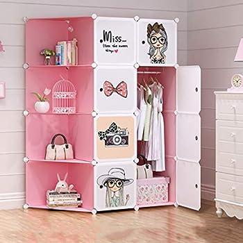 Elegant ANIUXIAOGE Fille Enfant Armoire Rangement Assemblage Chambre Dortoir Chambre  Simple Armoire Simple En Plastique 147 *