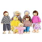 Watme 7-köpfige Puppenhaus Puppen, Puppenfamilien für Kinder Spiel Haus Geschenk Holz