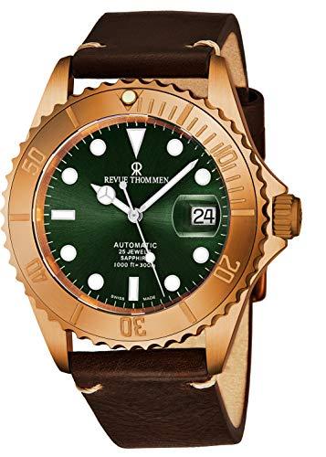 Revue Thommen Diver XL Homme 42mm Bracelet Cuir Automatique Montre 17571.2594
