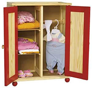 Eichhorn - 100004042 - Armoire de poupée en bois - 54 x 40 x 24 cm - Bois naturel/rouge