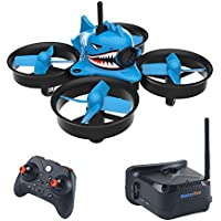 Makerfire Armor Blue Shark Micro FPV Racing Drone with 5.8G 40CH 1000TVL Camera VR006 FPV Goggles 800*600 3inch Headset RTF FPV Quadcopter - Compare prices on radiocontrollers.eu