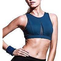 Huoduoduo Sexy Malla De Costura Deportes Sujetador Yoga Fitness Exterior Corriendo Ropa Interior Damas De Alta Resistencia,Blue,XL