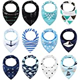 iZiv 12 Pack Baby Bandana Drool Bibs for Drooling and Teething, Organic Cotton, Soft and Absorbent Bibs for Baby Boys Girls - Baby Shower Gift Set (Color-5)