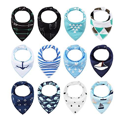iZiv 12er Set Baby Bandana Geifer Lätzchen mit Justierbarem Druckknöpfen, Wasserdichte Baumwolle Auskleidung für 0-2 Jahre (Farbe-5) - Baby Für Bandana-lätzchen