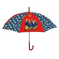 POS Handels GmbH Stockschirm mit Feuerwehrmann Sam, Regenschirm für Kinder, manuelle Öffnung und Fiberglasgestell Stick Umbrella, 59 cm, Multicolour (Bunt)