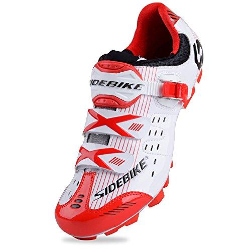 SIDEBIKE Erwachsene Radsport 's S03MTB oder Road Synthetik Schuh MTB-White