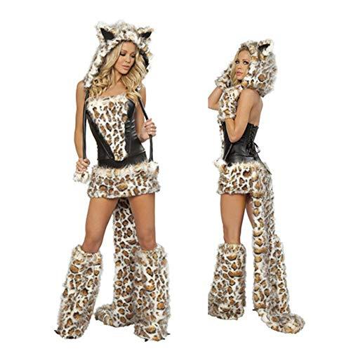 TUWEN KostüM Leopard Print Weihnachtskatze, Die Womens Cos KostüM Masquerade Einheitliche VerfüHrung Tiger Tattoo (Drucken Sie Kostüm)