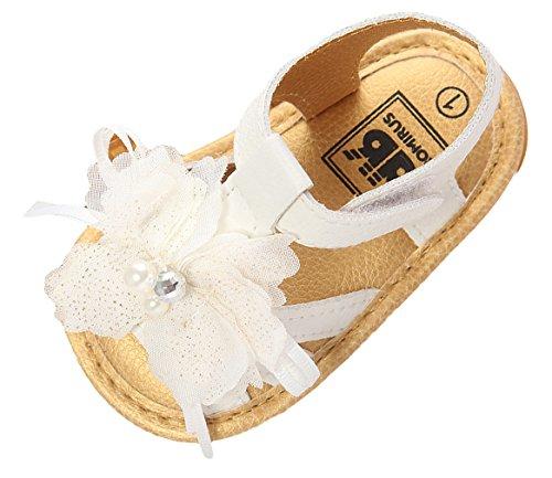 Eozy Sandale Bébé Fille Été Chaussure Premier Pas Fleur Antidérapant Mollet Plage Loisir Blanc