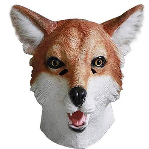 KSLD Latex Tierkopf Maske Hund Schaf Ziege Fuchs Hase Nutztier Maske Party Kostüme Theater Für Halloween