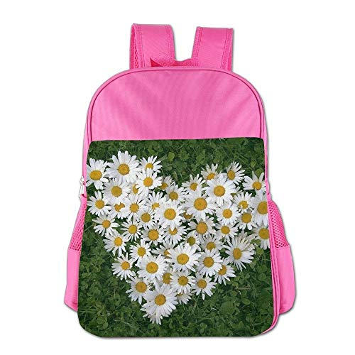 htrewtregregre Love Heart Daisy Flower Schule Backpack Kinder Shoulder Daypack Kid Lunch Tote Taschen Pink -