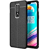 Golden Sand OnePlus 6 Back Cover Case Premium Leather Texture Series Shockproof Armor TPU Cover for One Plus 6 Mobile Phone Case 2018, Midnight Black
