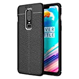 #4: Golden Sand OnePlus 6 Back Cover Case Premium Leather Texture Series Shockproof Armor TPU Cover for One Plus 6 Mobile Phone Case 2018, Midnight Black