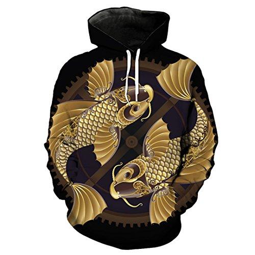 Lässiger Hoodie im chinesischen Stil Lucky Goldfish Fashion Sweatshirt Pullover EUR Size YU2056 5XL