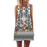 VEMOW Vintage Boho Frauen Sommerkleider Sleeveless Strand Gedruckt Kurzes Minikleid Eine Linie Abendkleid Täglich beiläufige Partei Weste T-Shirt Kleid Plus Size Rock(X1Weiß 6, EU-40/CN-S)