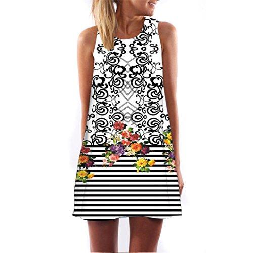 VEMOW Vintage Boho Frauen Sommerkleider Sleeveless Strand Gedruckt Kurzes Minikleid Eine Linie Abendkleid Täglich beiläufige Partei Weste T-Shirt Kleid Plus Size Rock(X1Weiß 6, EU-50/CN-3XL) (Size Schickes Womens Kleid Plus)